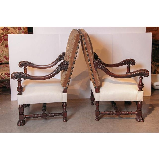 Pair of Antique Louis XIV Style Walnut Wood Armchairs with Lion's Paw Feet  - Image 2 - Distinguished Pair Of Antique Louis XIV Style Walnut Wood