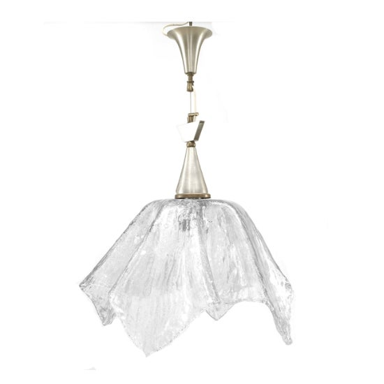 """Italian 1950s Murano """"Rugiada"""" clear textured glass handkerchief form lantern with brushed metal canopy (possibly Seguso)."""