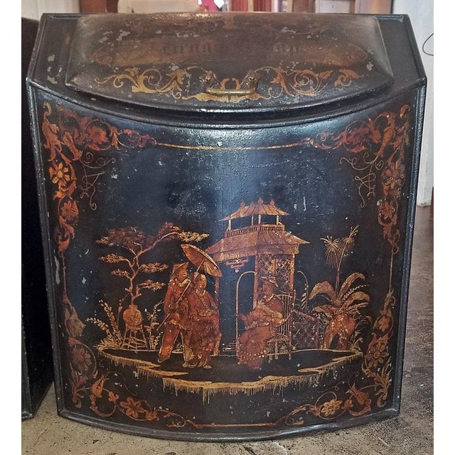 PRESENTING a GORGEOUS and EXTREMELY RARE PAIR mid-19th Century, metal Tea Bins, by Henry Troemner of Philadelphia, PA in...