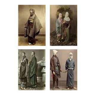 Four Felice Beato Hand-Painted Japanese Photographic Studio Prints, Circa 1860s For Sale