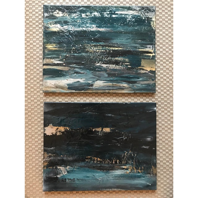 """""""Cosmic"""" Abstract Original Acrylic Paintings - a Pair For Sale In Boston - Image 6 of 6"""