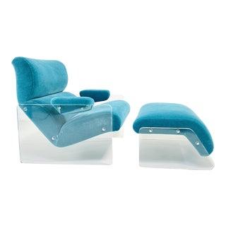 Lucite and Teal Mohair Floating Lounge Chair With Ottoman, 1970 For Sale