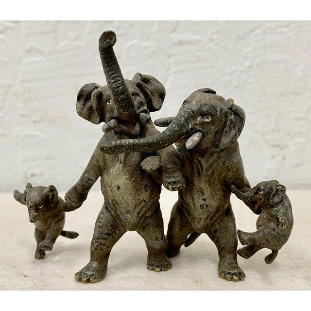 "Metal Miniature Geschutz Vienna Bronze ""Elephant Family"" Sculpture For Sale - Image 7 of 7"