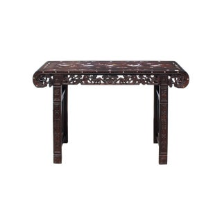 Chinese Brown Huali Rosewood Scroll Inlay Foo Dog Motif Altar Table For Sale