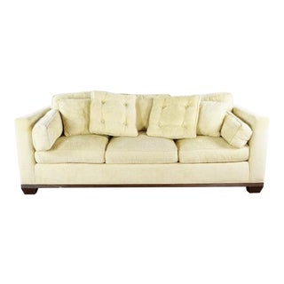 Baker Vintage Silk Upholstered Three Cushion Sofa For Sale