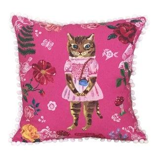 Pink Kitty Pom Pom Trim Pillow For Sale