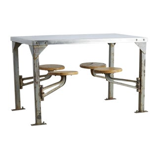 Industrial Swing-arm Mess Hall Table W/ Polished Top Circa 1940s
