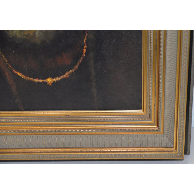 Mid 20th Century Oil Portrait of a Bearded Man After Rembrandt For Sale - Image 4 of 9