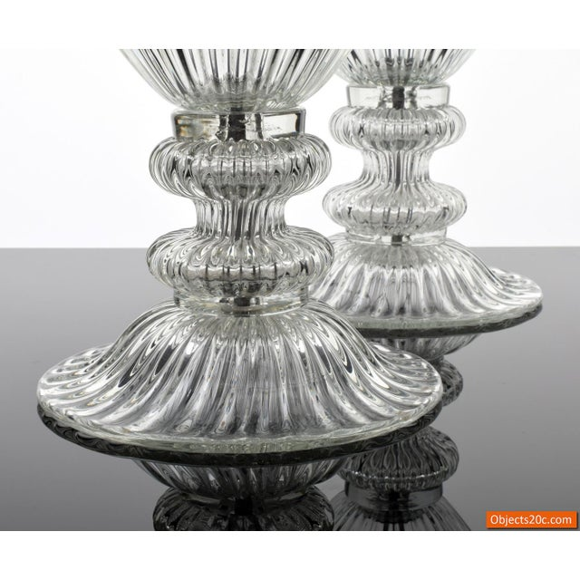 Pair of large ribbed blown glass lamps in the manner of Barovier & Toso, Murano, Italy.