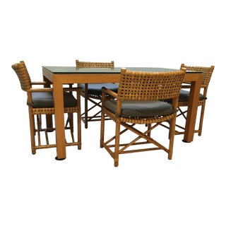 Parsons Table & McGuire Chairs - Set of 5 For Sale