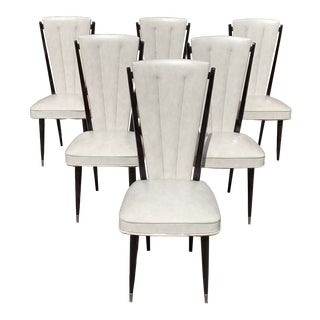 1940s Vintage French Art Deco Macassar Ebony Dining Chairs - Set of 6 For Sale