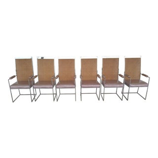 1970's Mid-Century Modern Milo Baughman High Back Chrome & Woven Cane Dining Armchairs - Set of 6