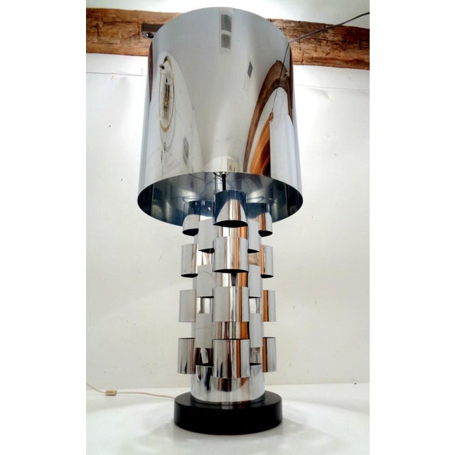 Signed Curtis Jere Skyscraper Interplay Chromed Steel Table Lamp For Sale - Image 12 of 12
