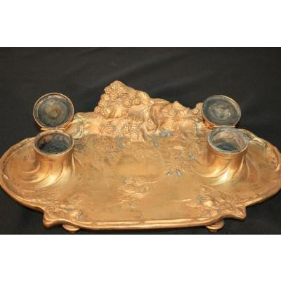 Gold Antique French Art Nouveau Gilt Bronze Inkwell Signed A. Marionnet Depose For Sale - Image 8 of 11