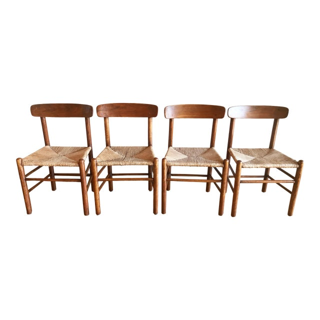 Mid Century Modern Early Edition Danish Børge Mogensen for Fredericia J39 Rush Rattan Chairs - Set of 4 For Sale