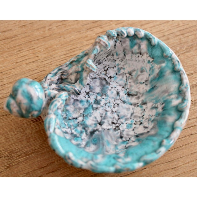 Italian Mid Century Turquoise Blue Italian Pottery Shell Dish by Fratelli Fanciullacci For Sale - Image 3 of 9