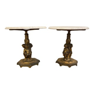 Italian Rococo Figural Marble Top Side Tables -A Pair For Sale