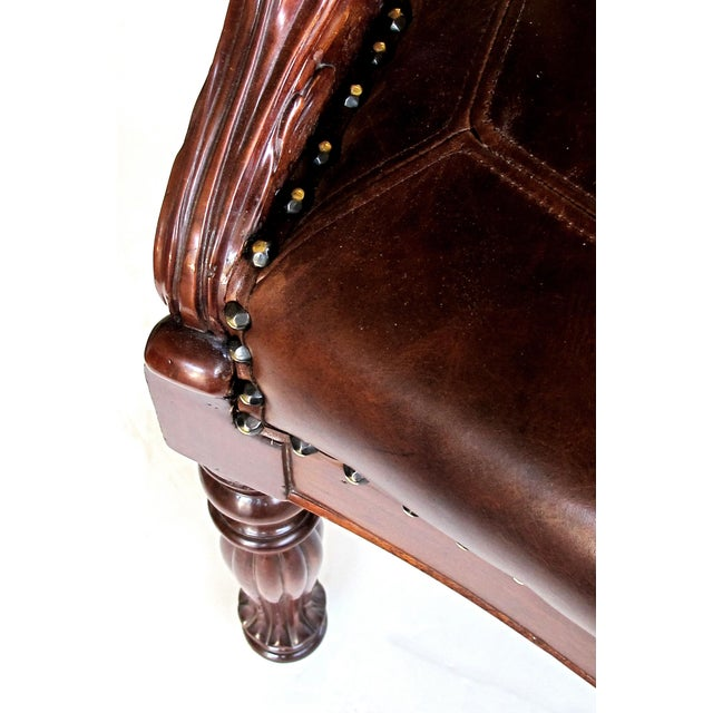 Black French Restoration Carved Mahogany Barrel-Back Desk Chair With Acanthus Leaves For Sale - Image 8 of 9