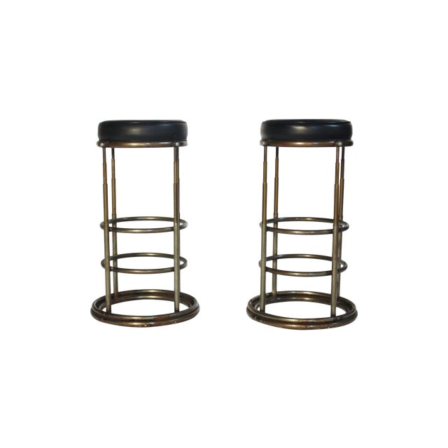 Machine Age Industrial Bar Stools - A Pair - Image 1 of 6