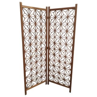 Midcentury Teak Cut-Out Room Divider / Screen For Sale