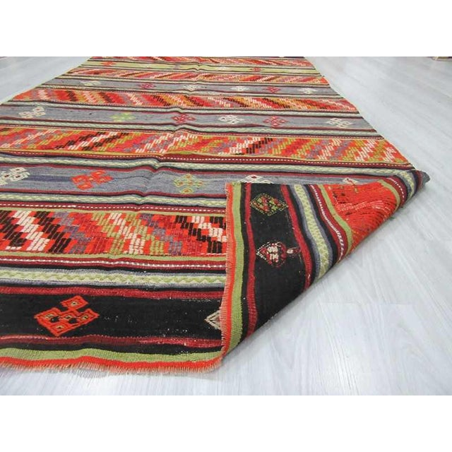 Handwoven Vintage Embroidered Turkish Kilim Rug - 5′9″ × 10′10″ For Sale In Los Angeles - Image 6 of 6