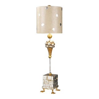 Pompadour X Table Lamp, Gold and Silver For Sale