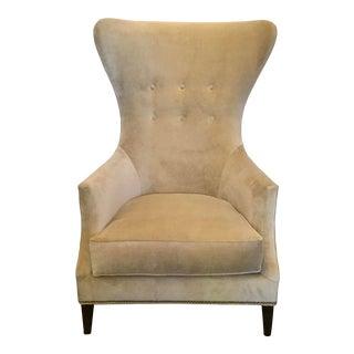 Modern Tufted Beige Velvet Wingback Chair For Sale