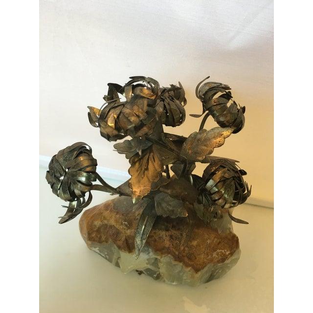 Brutalist Brass & Quartz Flower Model For Sale - Image 3 of 4