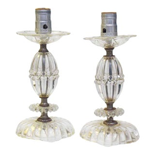Vintage Clear Glass Petite Table Lamps - a Pair For Sale