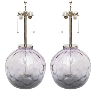 Chrome Lucite & Purple-Violet Colored Murano Glass Lamps - A Pair For Sale