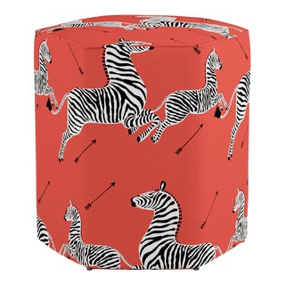 Hexagonal Ottoman in Coral Zebra By Scalamandre For Sale