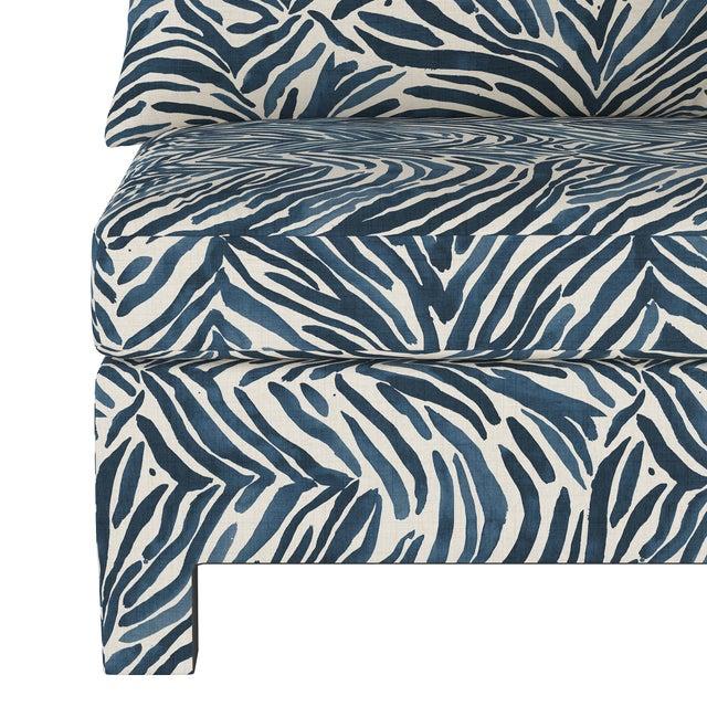 Washed Zebra Blue Corner Chair For Sale - Image 4 of 7