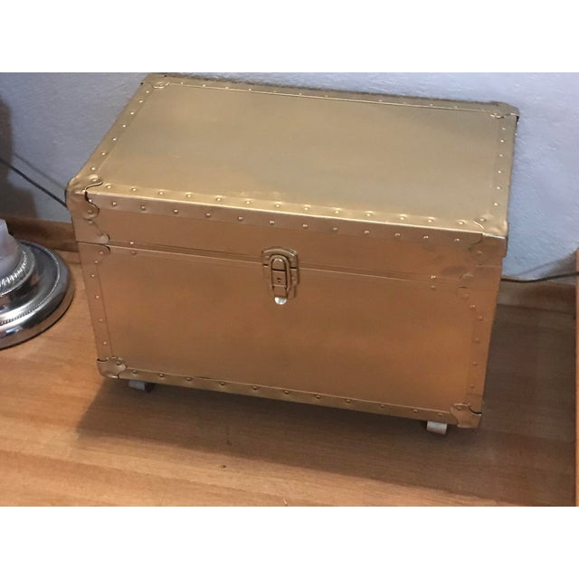 1950s Hollywood Regency Rolling Gold Metal Trunk Chest For Sale In Sacramento - Image 6 of 6