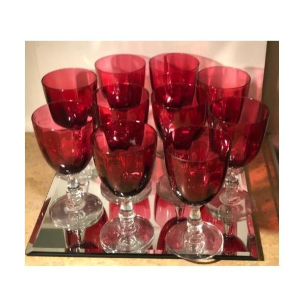 Unusual Set of 8 Heavy Antique Cranberry Red Glass Wine Stems