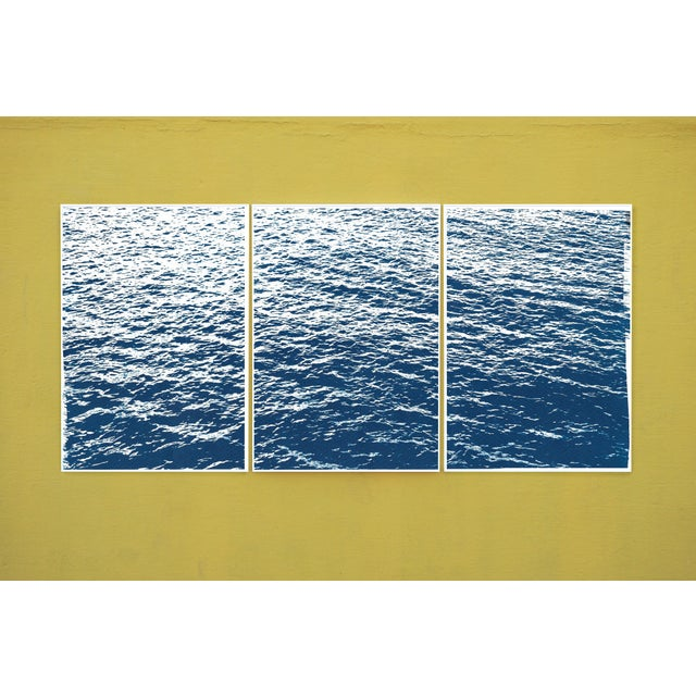 Bright Seascape in Capri, Navy Cyanotype Triptych 100x210 Cm, Classic Blue Edition of 20. For Sale - Image 10 of 11