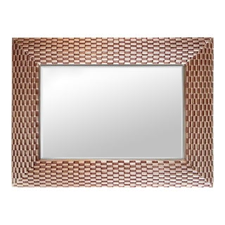 Basket Weave Style Large Rose Gold Wall Mirror For Sale