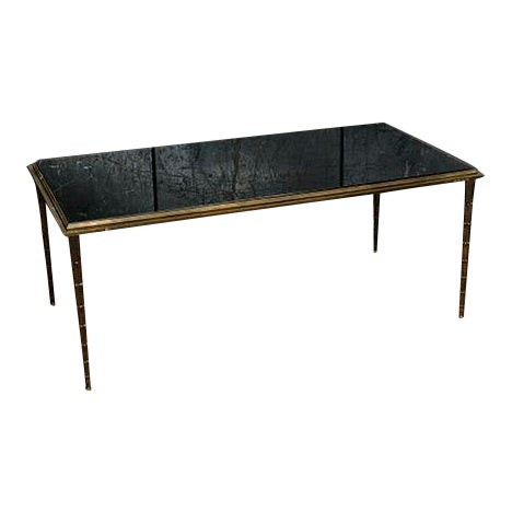 French Silver Leaf Table With Black Marble Top For Sale
