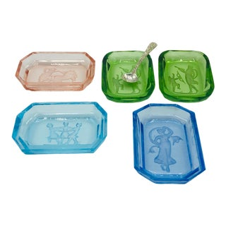 Multi Colored Intaglio Salt Cellars - Set of 5 For Sale