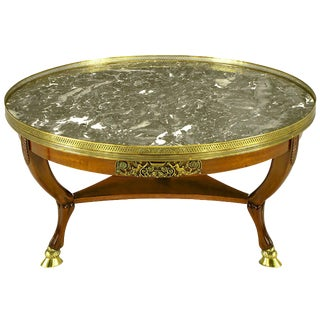 Mahogany and Marble 1940s Empire Coffee Table With Bronze Hoof Feet For Sale
