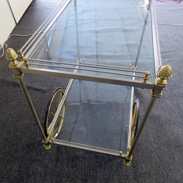 Metal Mid 20th Century Regency Style Bar Cart For Sale - Image 7 of 10
