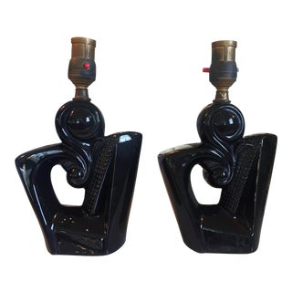 Pair of Blacked Glazed Atomic Lamps For Sale