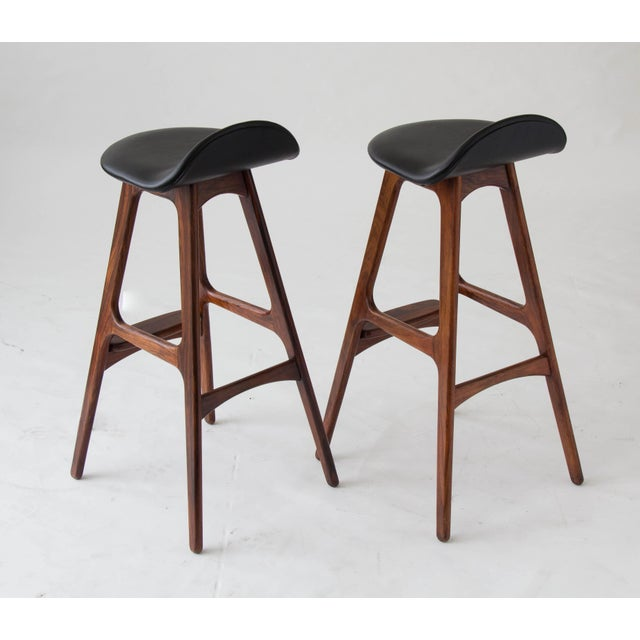 Erik Buch for O.D. Møbler Rosewood & Leather Bar Stools- A Pair - Image 5 of 6