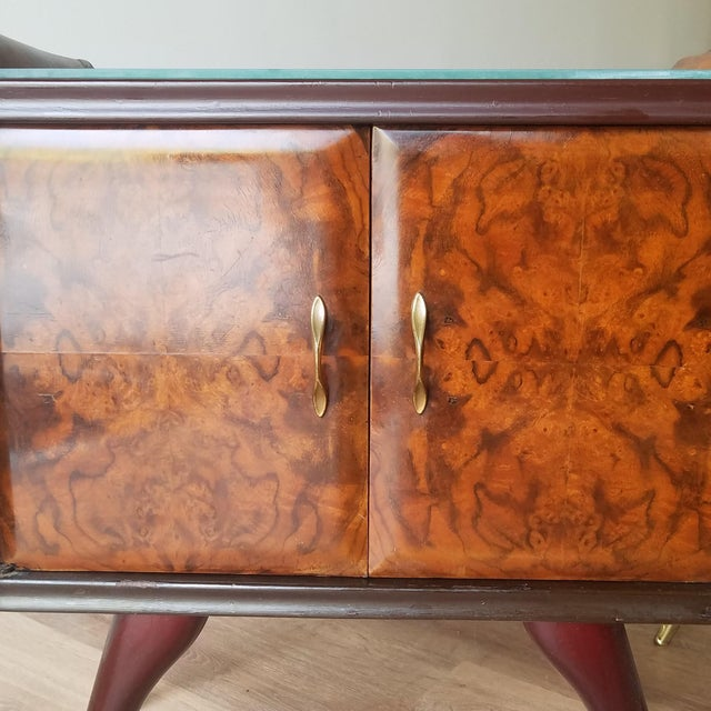 Brown Italian Mid-Century Modern Burl Walnut Nightstands - a Pair For Sale - Image 8 of 13