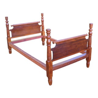 Antique Primitive Solid Wood Rolling Pin Full Double Rope Poster Bed Early 1800s For Sale