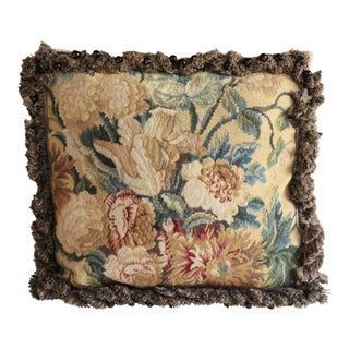 Vintage Needlepoint Pillow For Sale