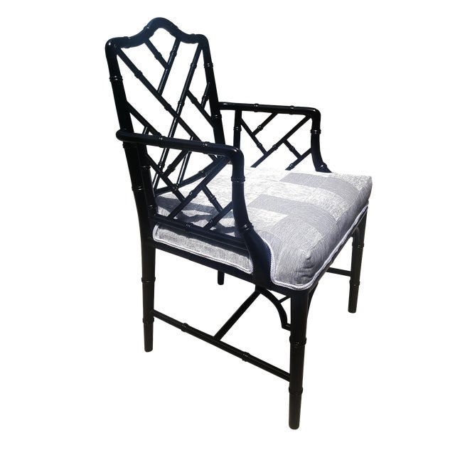 Faux Bamboo Chinese Chippendale Black Lacquered Armchair For Sale