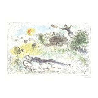 """Marc Chagall Les Amoureux a l'Isba 15"""" X 22"""" Poster 1981 Modernism Multicolor, Yellow, Green, Brown Couple For Sale"""