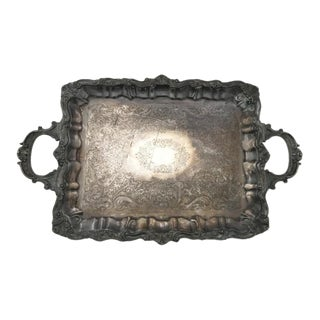 Antique Large Sheffield Silver and Copper Footed Baroque Serving Tray For Sale