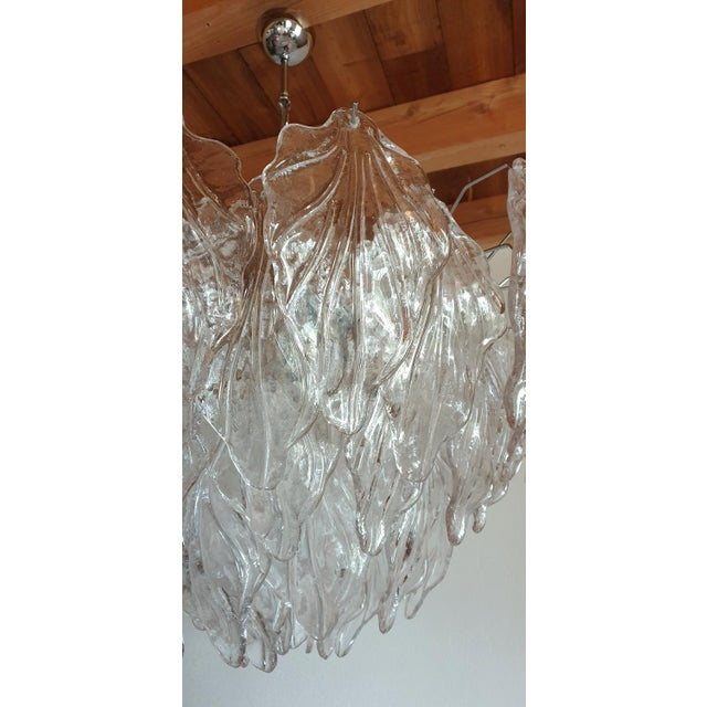 Metal 1970s Mid Century Modern Murano Glass Leaves Chandelier For Sale - Image 7 of 11
