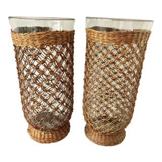 Glass & Raffia Hurricanes - A Pair